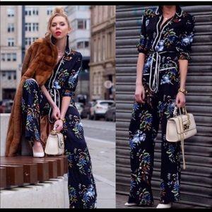 Zara Navy Floral Jumpsuit